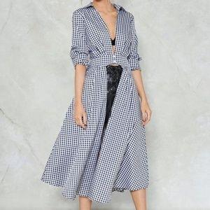 NastyGal Check Yourself Gingham Shirt Dress plaid